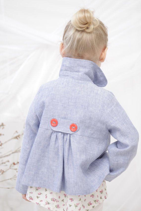 Girls blazer jacket Toddler girls linen jacket Blue by mimiikids