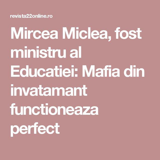 Mircea Miclea, fost ministru al Educatiei: Mafia din invatamant functioneaza perfect
