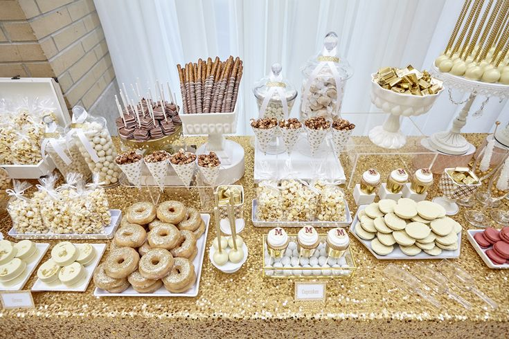 June 2015 | Hamilton ON | www.kjandco.ca | KJ and Co. design and coordination at McMaster University Alumni Awards Gala | Photo by Mike Lalich | Candy by Katie sweets table with gold glitter donuts and  yellow gold sequin table cloth