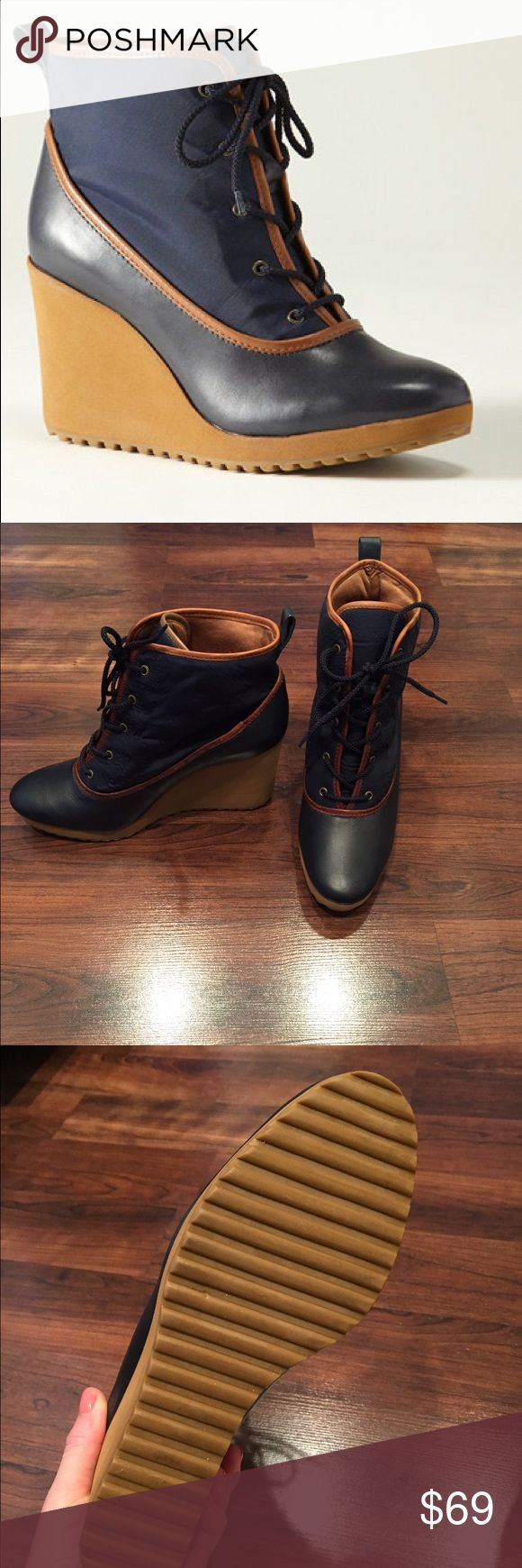 LL Bean winter weather wedge boots Really cute LL Bean wedge boots. Navy blue with nylon upper and leather lower. Only worn twice, great condition. Perfect lightweight boot for winter and spring! No trades. Thanks for looking! LL Bean Shoes Winter & Rain Boots