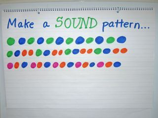 make a sound pattern e.g. clap clap stomp clap clap stomp PERFECT for Kdg. and 1st!!!