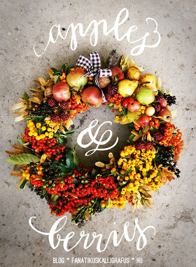 Beautiful autumn dorr wreath with pretty calligraphy.:)