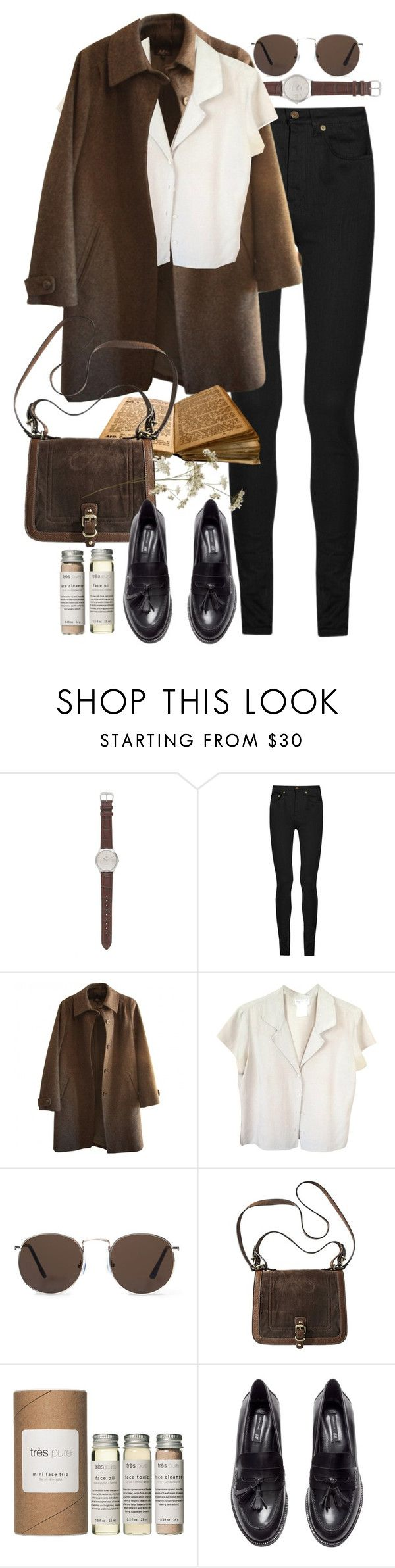 """Untitled #8807"" by nikka-phillips ❤ liked on Polyvore featuring J.Crew, Yves Saint Laurent, A.P.C., agnès b., MANGO, Très Pure and H&M"