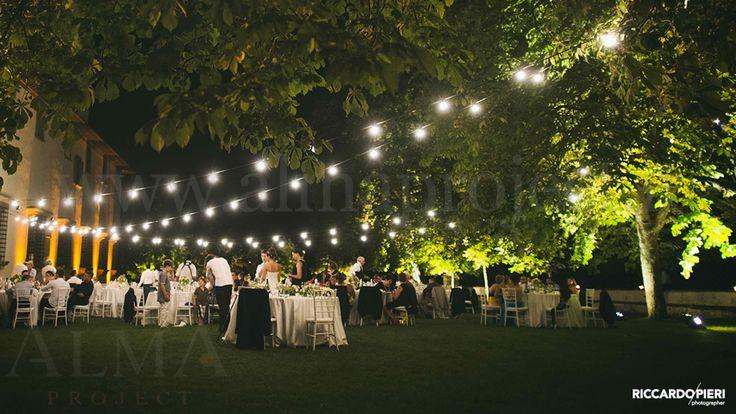 ALMA PROJECT @ Villa Corsini - English Garden - bulbs production - threes uplights - facade amber - http://www.petalidirosaweddings.com - http://www.riccardopieri.com