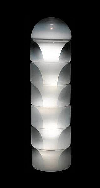 Carlo Nason for Mazzega, a 'Sfumato' floor lamp, designed 1969 seven piece stacking glass structure
