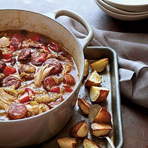 100 Best Comfort Food Classics | Chicken-Andouille Gumbo with Roasted Potatoes | SouthernLiving.com