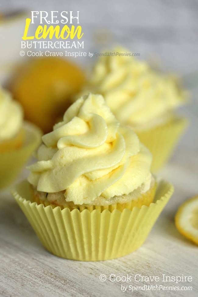 This Fresh Lemon Buttercream ..♥♥... is easy to make and results in a deliciously luscious frosting that is light and citrusy. Perfect on cupcakes, banana cake and we won't judge if you eat it with a spoon!