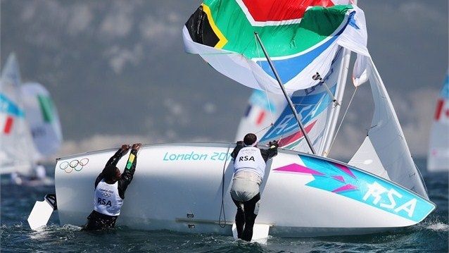 Jim Asenathi and Roger Hudson of South Africa capsize