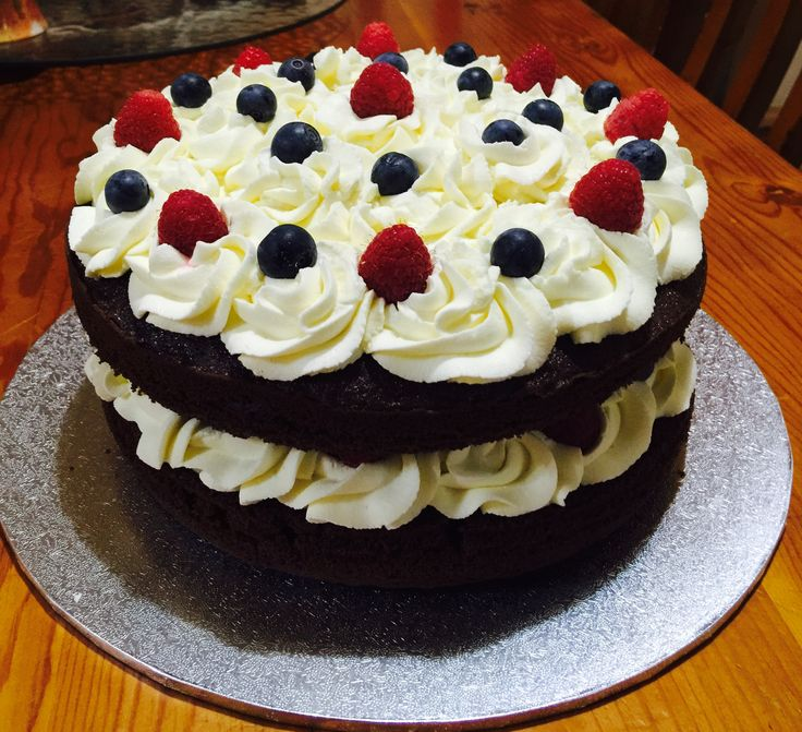 Double Layer Chocolate Cake with Raspberries and Blueberries