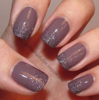 China Glaze - Below Deck & CG in the City.  Gradient mani, tips swabbed lightly with makeup sponge.