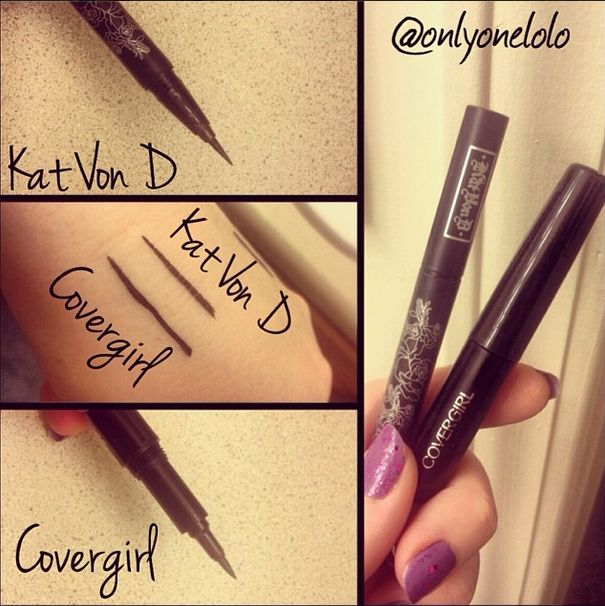 DUPE ALERT Kat Von D's Tattoo Eyeliner ($18) vs Covergirl's Lineblast 24 hour Eyeliner (~$8). Review and photos on this blog!