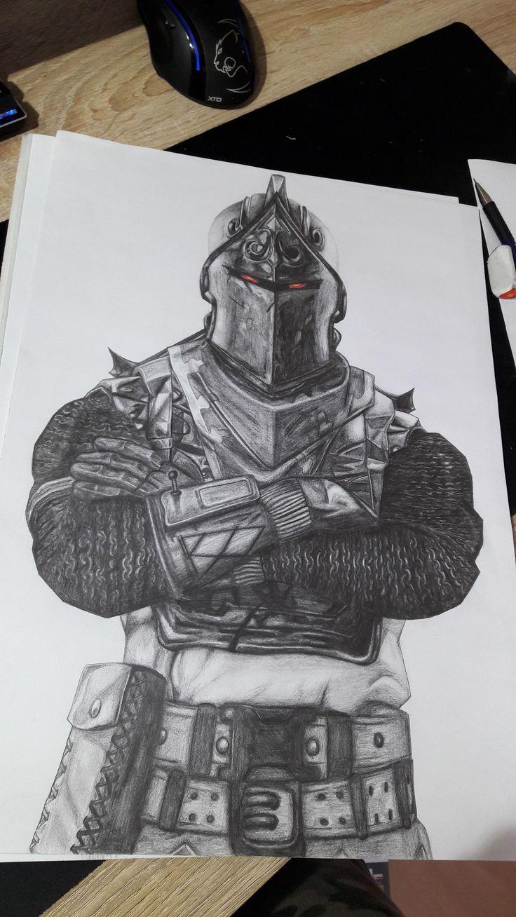 Black Knight Fortnite Drawing 30 X 40 Cm In 2019 Knight