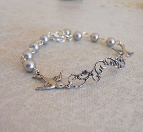 Two birds Friendship bracelet Charm Bracelet Bangle by BeadsStory, $21.00  Potential Mothers' gifts