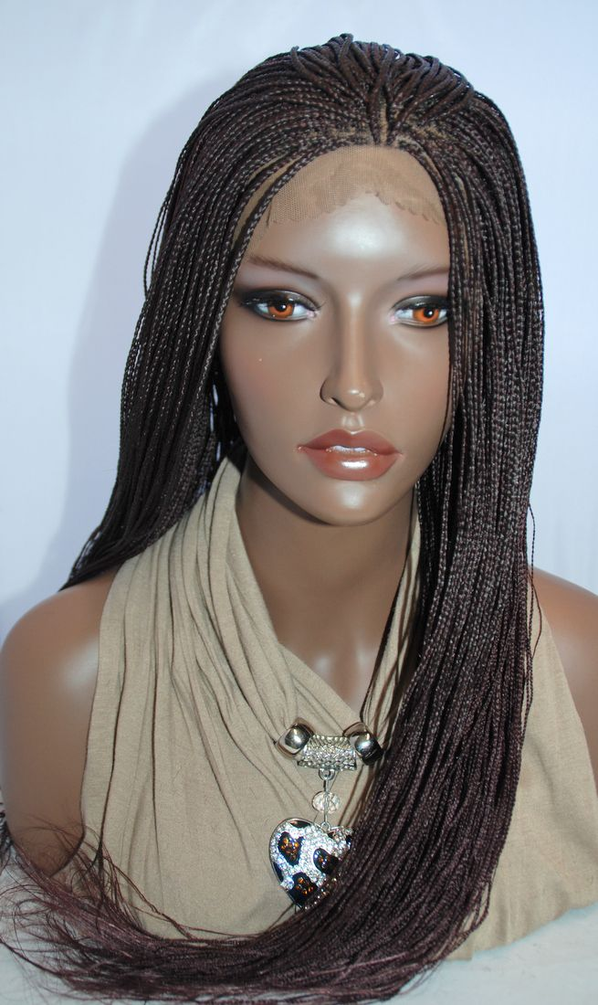 Braided Lace Front Wig Micro Braids Color 99J in 24 Inches ...