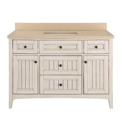 Home Decorators Collection Klein 49 in. Vanity in Antique White with Quartz Vanity Top in Beige with White Basin-KLWVT4922D - The Home Depot