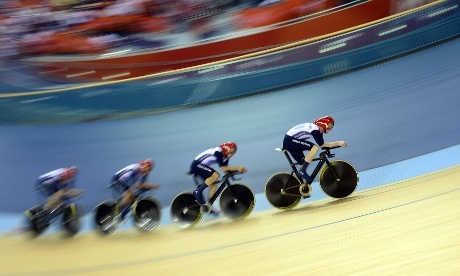 And another gold medal for Team GB as well as a world record smashed as Edward Clancy, Geraint Thomas, Steven Burke and Peter Kennaugh fly home in the men's team pursuit final. Photograph: Leon Neal/AFP/GettyImages
