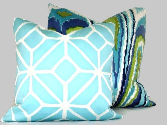Trina Turk Peacock Designer  Indoor Outdoor Pillow by PopOColor, $50.00