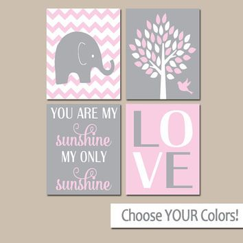 Pink Gray Nursery, Girl Elephant Nursery Wall Art, Baby Girl Nursery Decor, Girl Bedroom Pictures, CANVAS or Prints, Sunshine Quote Set of 4