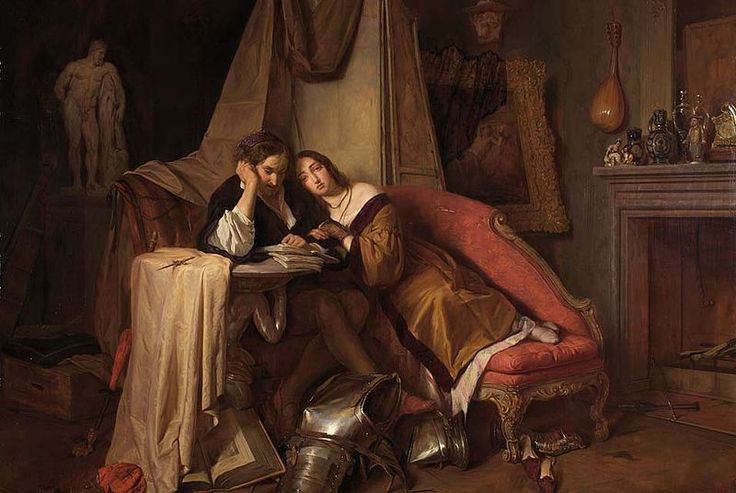 Readers reading #4 The Novel Reading (1841) – By Josef Danhauser: 1805-1845. A happy couple. I wonder what the suit of armour on the floor means? And I wonder what they are reading? 1841, the…