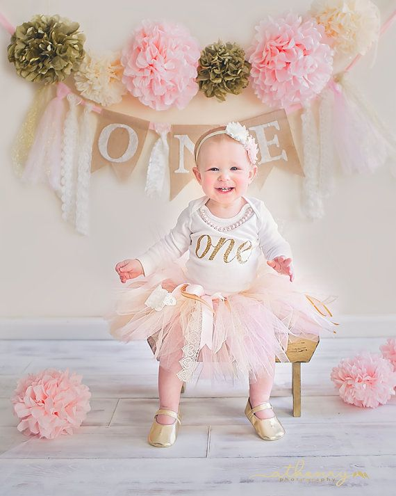 Pink & Gold First Birthday Outfit With Matching High Chair