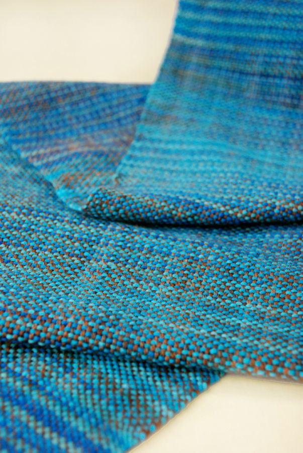 OK. So, it's not knitting. But it's yarn. And now I want a loom. Bad.   Scarf woven with a Kromski Rigid Heddle Loom, shown in Sasquatch Imagination and Blue Yonder Stroll Tonal.