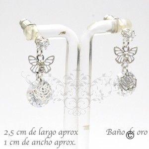 BER_0023 aros con baño de oro y cristal