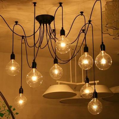 6 tête E27 rétro Loft industriel suspendu lustre plafonnier Eclairage luminaires bricolage Vintage (sans ampoule)