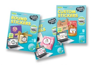 make your own stickers for packaging and favors using printable sticker/label kits ... free templates and art to download included in each kit