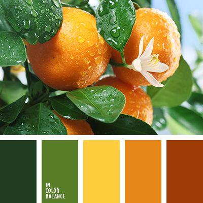 greenery, коричневый, летние цвета, насыщенный оранжевый, оттенки зеленого, тёмно-зелёный, теплые оттенки оранжевого, цвет зелени, цвет зеленых листьев, цвета Pantone 2017, яркий желтый.