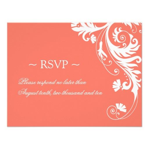 Coral Wedding Reply Cards Custom Invitations