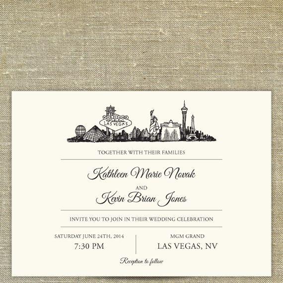 Las Vegas Skyline Destination Wedding Invitation Suite SAMPLE ONLY