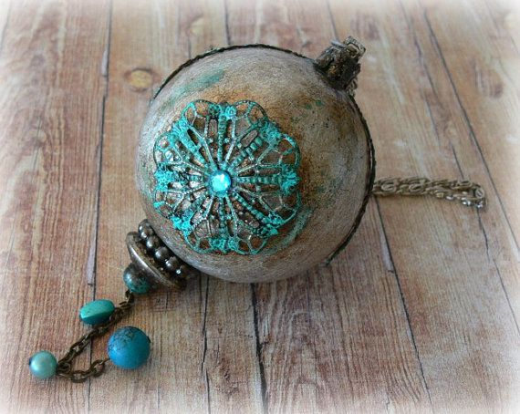 Handmade Christmas bauble Silvered Christmas by CarmenHandCrafts