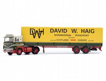 The Corgi Scania 141 Tilt Trailer, David W. Haig International Transport, Scotland is a new diecast model truck in 1/50 scale from the Corgi Hauliers Of Renown Toy range. In 1946, David Wilkie Haig acquired an ex-war department Thornycroft lorry after returning to his home town of Bellshill and decided to set up a transport business.  By the 1960s he had acquired a fleet of over 40 trucks.