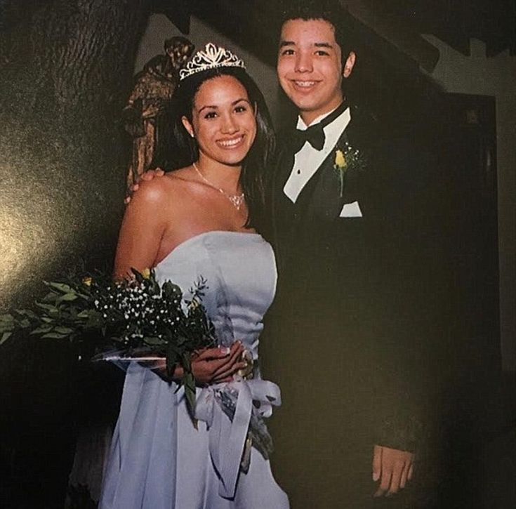 Miss Markle is pictured as homecoming queen at her high school prom aged 17 in 1998