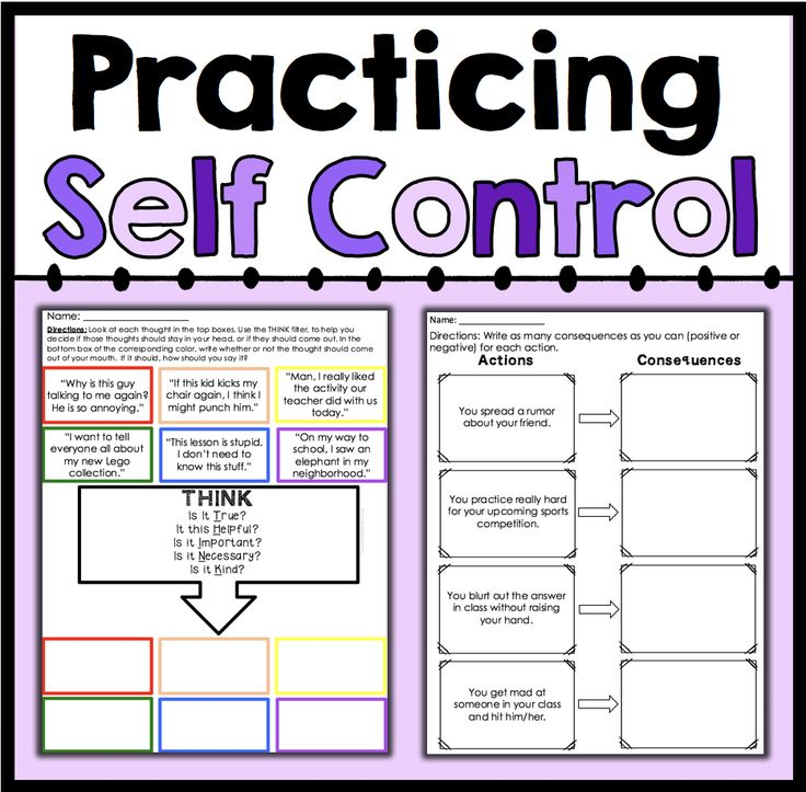 Practicing Self Control | Student learning, Worksheets and ...