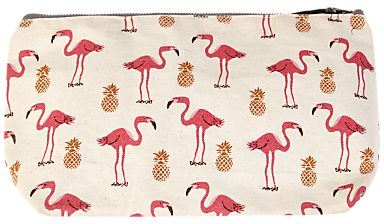 Flamingo & pineapple print make-up bag from John Lewis. Keep all your favourite makeup together in this cute cosmetic bag, adorned with adorable flamingoes and pineapples. #affiliate
