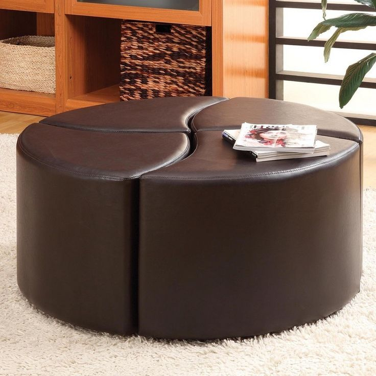Round Brown Ottoman From Four Parts
