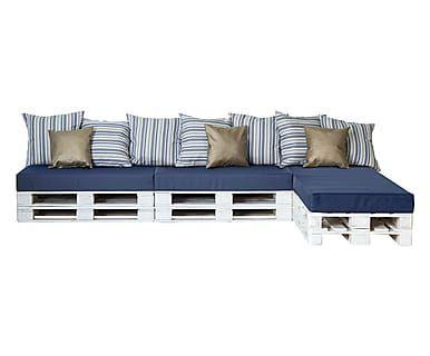 Divano modulare a chaise lounge con cuscini blu e bianco