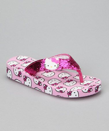 Take a look at this Pink Hello Kitty Glitter Wedge Flip-Flop by Hello Kitty on #zulily today!
