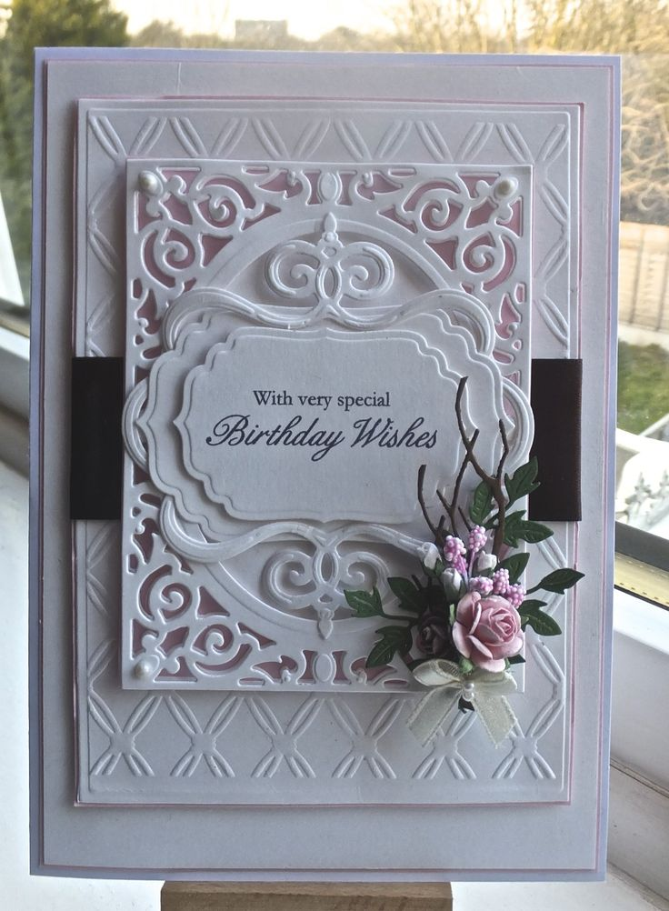Hello everyoneAnother new spellbinders die for me, its called A2 filigree delights and I love it, I also used SB 5x7 matting basics, SB twisted metal tag and SB labels four, the leaf die is by chee...