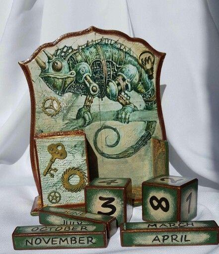 Вечный календарь в стиле Стимпанк. Декупаж