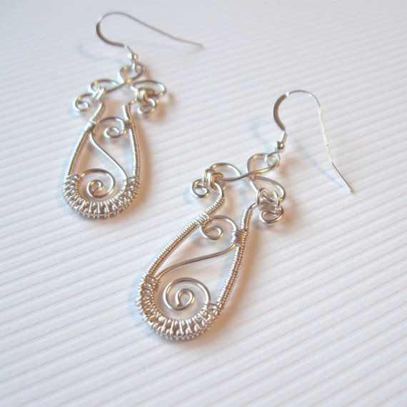 Wire Wrapped Earrings  Silver Plated Copper Scroll by TheWireRose, $20.00