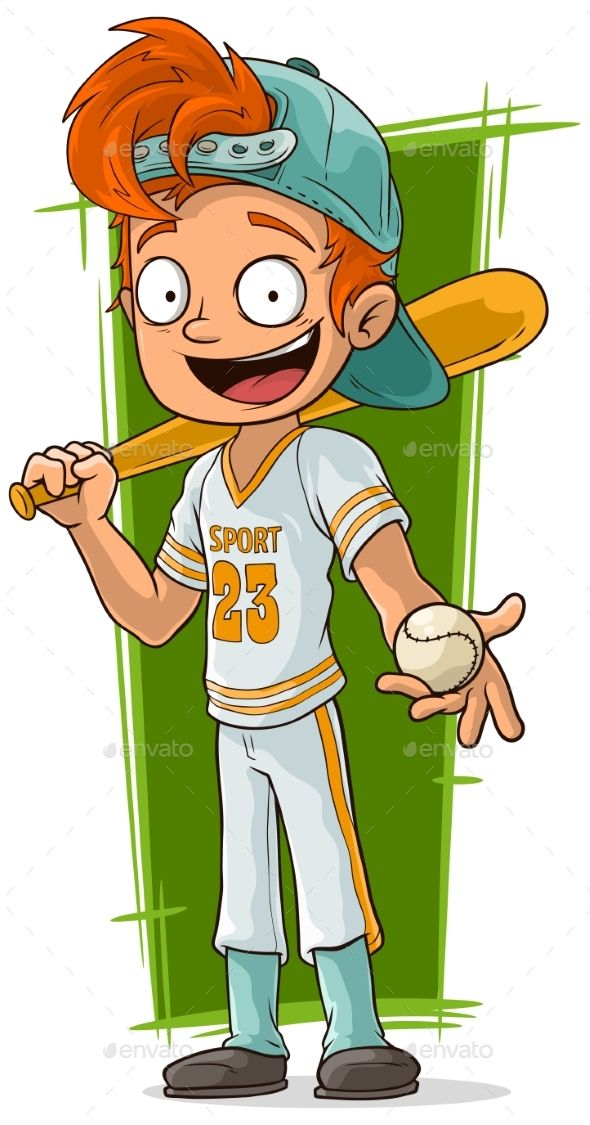 Cartoon Young Baseball Player with Bat