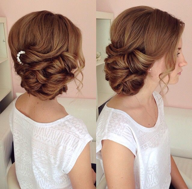 Side swept updo, draped updo, wedding hairstyles, bridal hair ideas