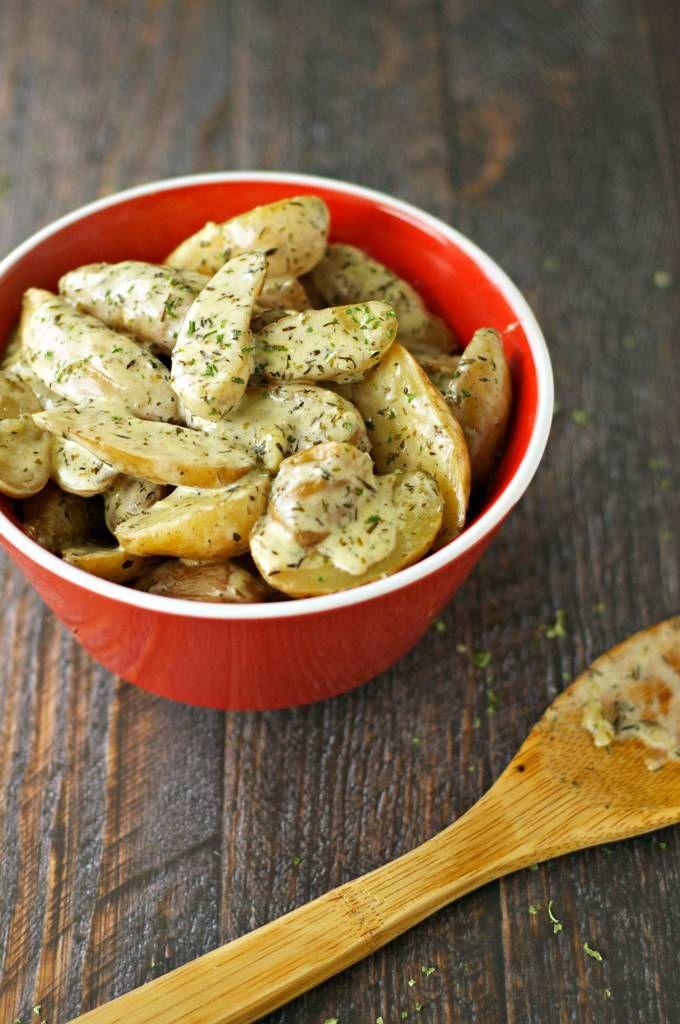 Slow Cooker Creamy Cheesy Fingerling Potatoes