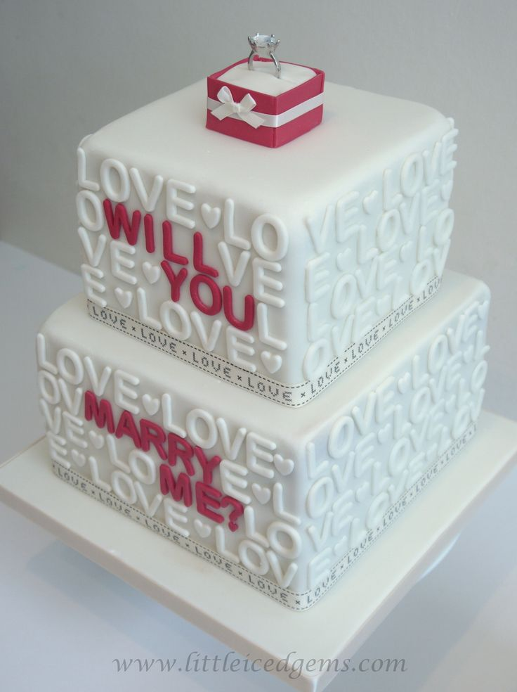 Proposal cake - will you marry me? - www.littleicedgems.com