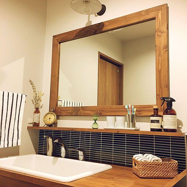 Rinさんのbathroom 無印良品 洗面所 アクセントクロス シンプル Actus