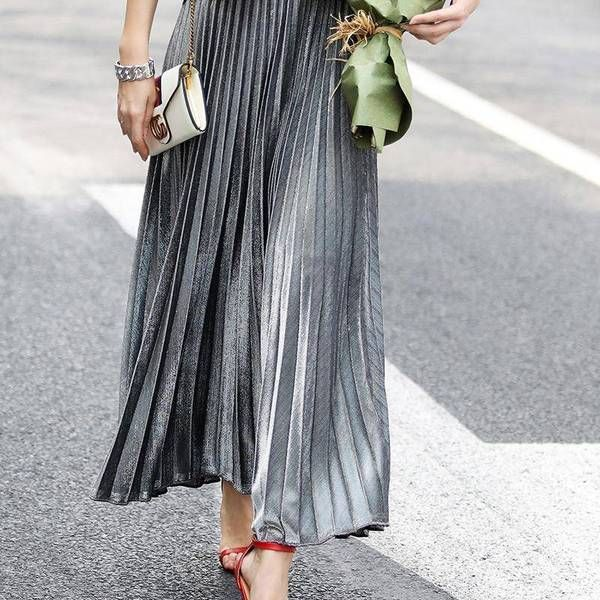 5aabe75e4 Metallic Long Pleated Floor length Maxi Skirt Gold or silver (US 8-14)