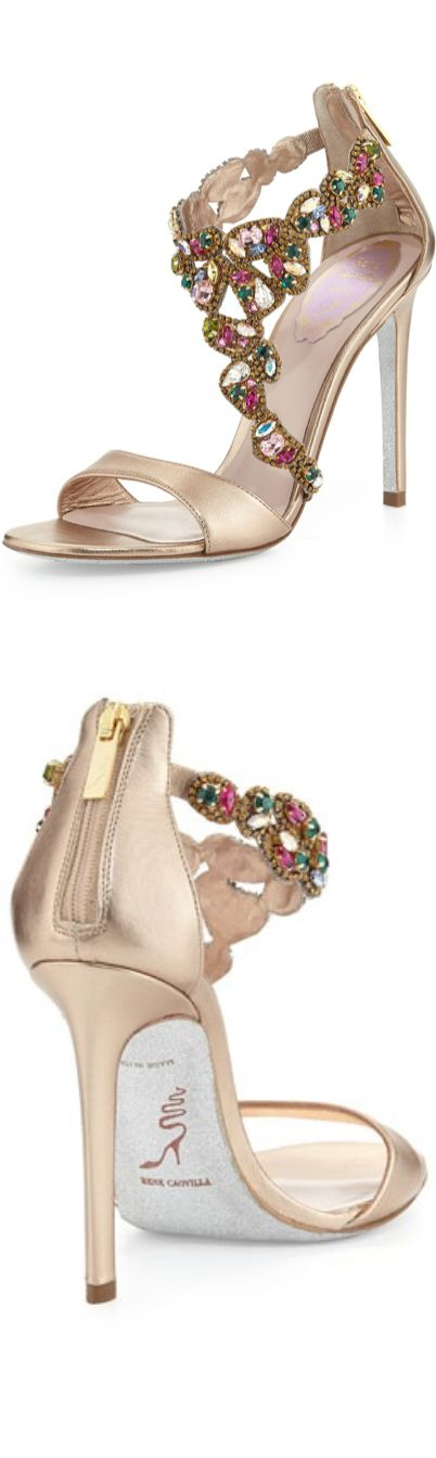 Rene Caovilla Crystal-Covered Asymmetric Sandal What to Wear to a Wedding?