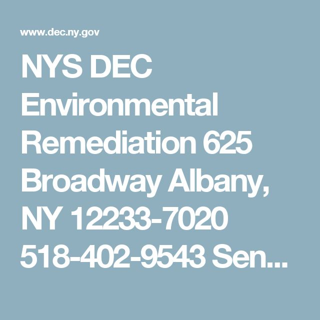 NYS DEC  Environmental Remediation  625 Broadway  Albany, NY 12233-7020  518-402-9543  Send us an email